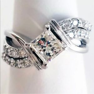 Sterling Silver CZ Solitaire and Pave Wedding Band
